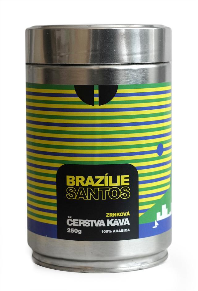 Káva Brazílie Santos, zrnková - dóza 250 g