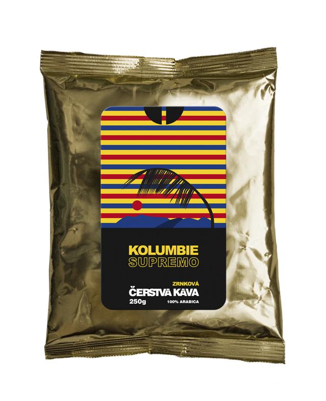 Káva Kolumbie Supremo, zrnková - sáček 250 g