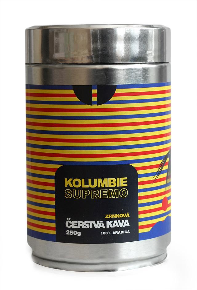 Káva Kolumbie Supremo, zrnková - dóza 250 g