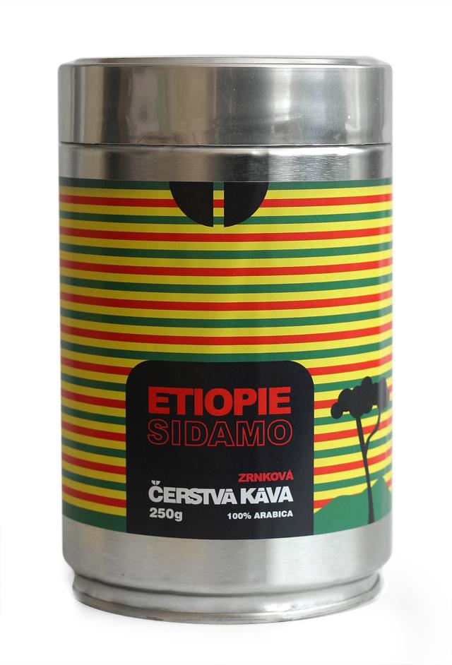 Káva Etiopie Sidamo, zrnková - dóza 250 g
